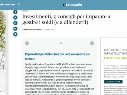 """Difendi i tuoi soldi di Giacomo Ferrari su """"Corriere della Sera"""" online, 11/10/2019"""