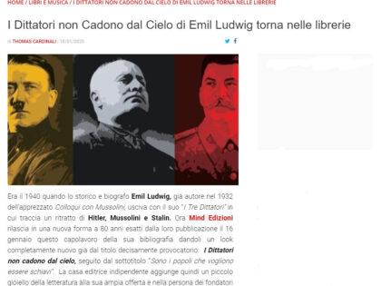 I dittatori non cadono dal cielo di Emil Ludwing su Giornalettismo.com, 18/01/2020