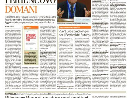 """Affrontare e vincere le crisi di Enrico Sassoon su """"L'Arena"""", 16/4/2020"""
