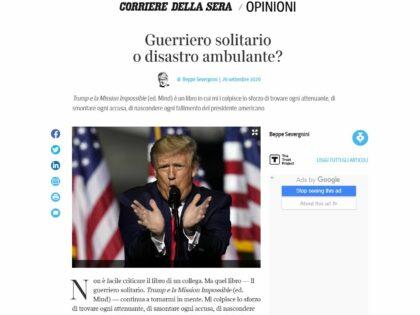 """Beppe Severgnini sul """"Corriere della Sera"""" del 27/9/2020 recensisce Il guerriero solitario di Glauco Maggi"""