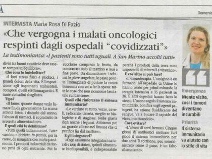 Intervista Maria Rosa Di Fazio, Il Giornale 10/01/2021