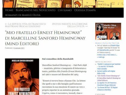 "Mio fratello Ernest Hemingway recensito su ""Libroguerriero.it"", 08/01/2021"