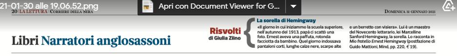 Hemingw. Corriere 31.1.21